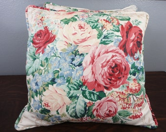 Vintage Rose Floral Throw Pillows - Set of 2