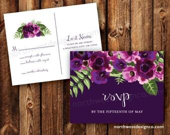 Purple Floral Wedding Invitation Reply Card Postcard RSVP Card Traditional Boho Elegant Pink Flower RSVP Printable Digital File or Printed
