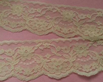 2 Yards YELLOW Lace Trim Floral Flower Venise Lace Trimming 1.40 Inches Wide