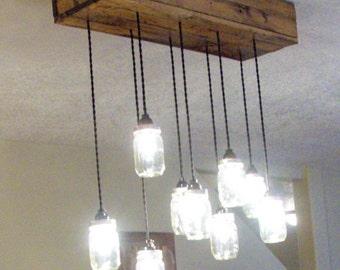 Rustic Light Fixture, Farmhouse Mason Jar, Reclaimed wood