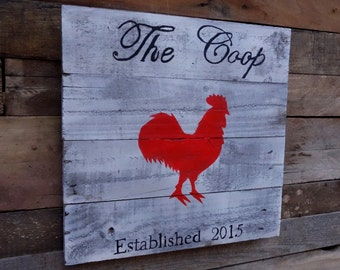 The Chicken Coop Wood Pallet Sign With Rooster