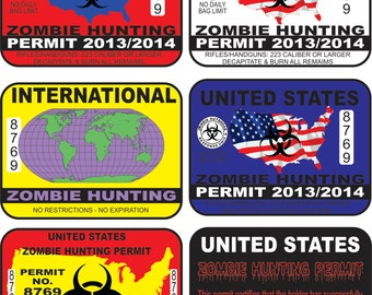 28 Zombie Hunting Permit Vector Clipart