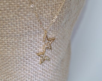 14K Gold Filled Chain with CZ Pendant Necklace