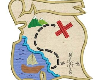 Pirate Treasure Map Applique Embroidery Design Download Stitch Design - 0066