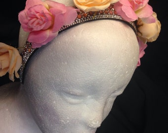 Sparkling rose headband / crown
