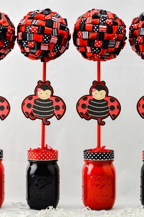 Ladybug Birthday Theme Topiary Centerpiece One 1 Ladybug