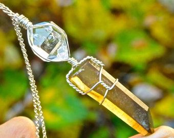 NATURAL Citrine Crystal + Herkimer Diamond Crystal Pendant- Citrine Crystal Pendant- Citrine Crystal Wire Wrap- Citrine Crystal Jewelry