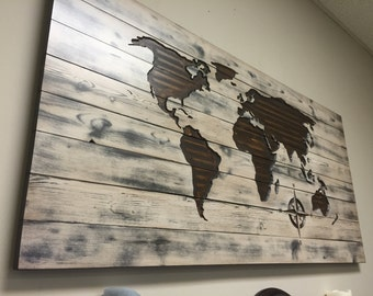 World Map Wood Wall Art distressed map | etsy
