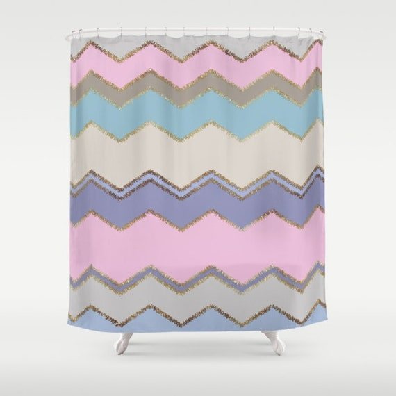 Shower curtain multi chevron and brushed gold pink purple for Pink and gold bathroom accessories