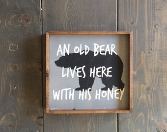 An Old Bear Sign, Rustic Sign, Camp Sign, Cabin Sign, Wedding Gift, Rustic Wedding Gift, Outdoors Sign