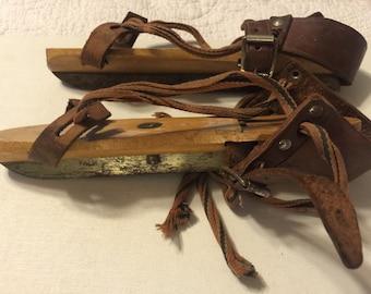 Very Old Wood & Steel Ice Skates - 1910's