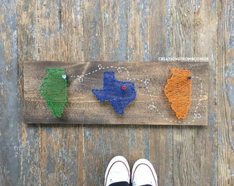 Three Connecting States/Countries String Art Sign, MADE TO ORDER