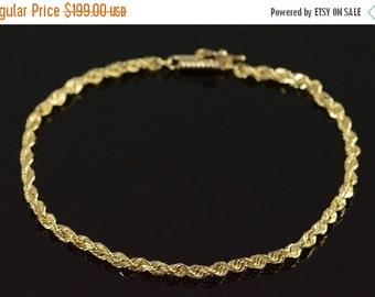 "1 Day Sale 10K Rope Link Bracelet 8"" Yellow Gold"