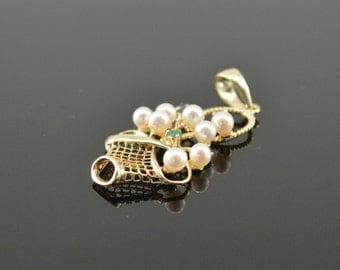 14K Vintage Emerald, Sapphire, Ruby & Pearl Handbasket Charm/Pendant Yellow Gold