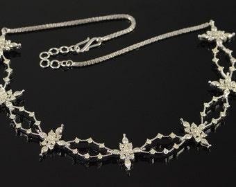 """18K 3.25 CTW Diamond Starburst Statement Necklace 18"""" White Gold"""