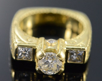 18K 0.85 CT Round 1.55 CTW Engraved Engagement Ring - Size 5.25 / Yellow Gold - EM1695