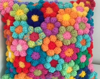"Rainbow Flower crochet cushion, Wool Couch crochet flower Pillow,  Crochet flower Cushion,  Gift 14"" x 14"" medium  Hand made  beautiful gift"
