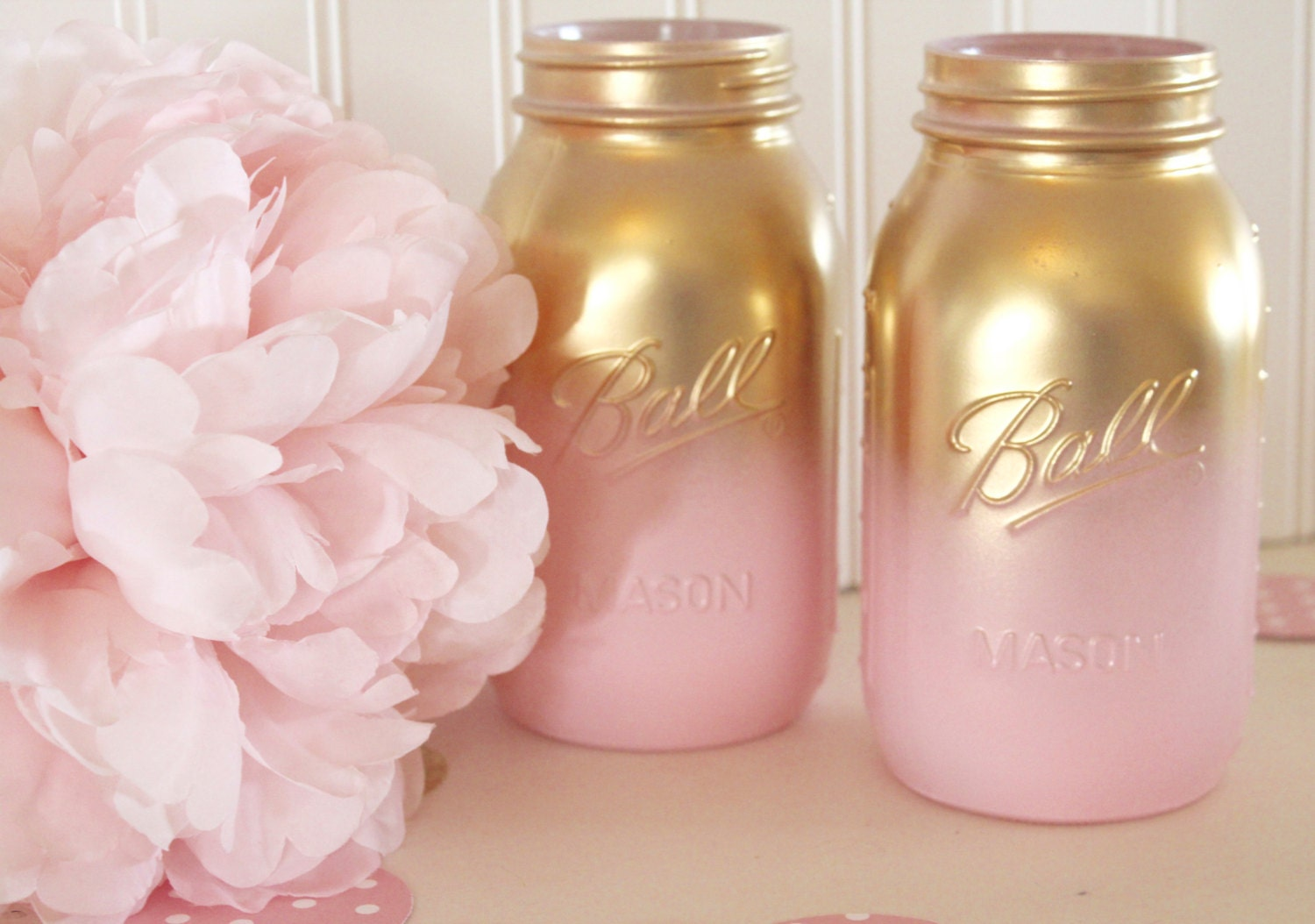 Pink and Gold Ombre Mason Jars - Gender Reveal - Baby Shower Gold Mason Jars - Bridal Shower Centerpieces - Gold Mason Jars - Gold Mason Jar