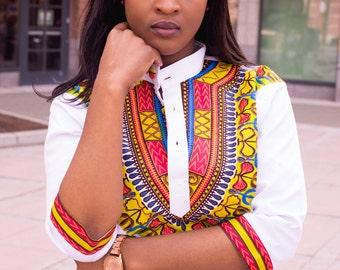 African Vibrance Collection: Dashiki Button Down