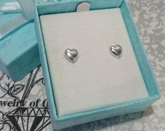 925 Sterling Silver Heart Studs Earrings 7mm