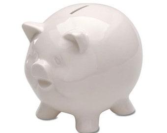 Piggy Bank White Ceramic Glazed 5 3/4 inches x 1 piece 6651-68