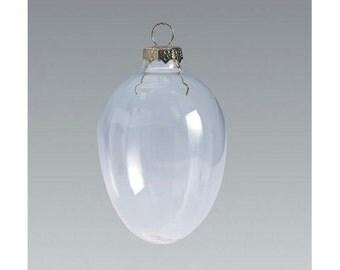 Glass Ornament - Clear - Egg Shape - 50mm - 10 pieces per box  2614-27