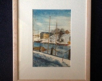 "Cold Scandinavian Harbour. Double-Sided Framed Watercolour; Two for One: on the back ""A Cornish Lane""."