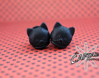 Black cat plugs gauges 10mm 00G stretched ears tunnel Halloween