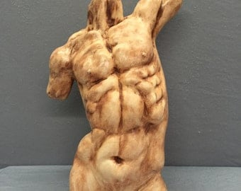Male Torso / Youthful  Male Physique Sculpture / Fit Male Body / Flesh Tone (lighter color than photos) / Hand Made Youthful Male Sculpture