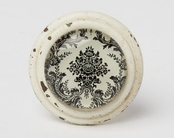 Anastasia baroque Drawer Knob Black and Off White