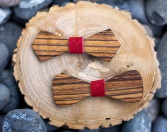 Zebra Wood Hair Bow- RED (2 Style Options)