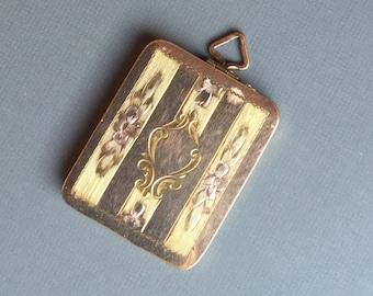 Vintage Gold Filled Large Square Locket ~1950's Mid-Century Pendant Locket