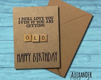 Scrabble Card, OLD, Happy Birthday Card