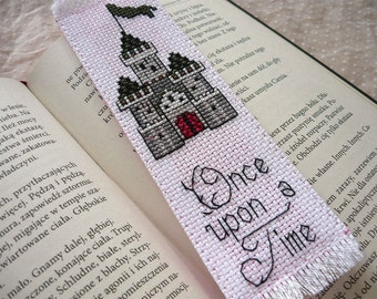 Cross stitch bookmark - Once upon time, embroidered bookmark, gift for readers, book lover