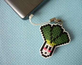 Cross stitch phone charm - kawaii leek, gift for teens, cute keychain, kawaii charm, cute phone dangle, Dust Plug, Earphone Plug