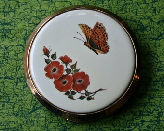Vintage Kigu Powder Compact Cream with Butterfly and Flowers