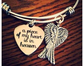 Memorial bracelet, A Piece Of My Heart Is In Heaven