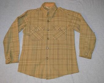 Mens Medium Vintage VTG 1960s Woolrich Hunting Birding Outdoor Button Up Shirt Wool Plaid