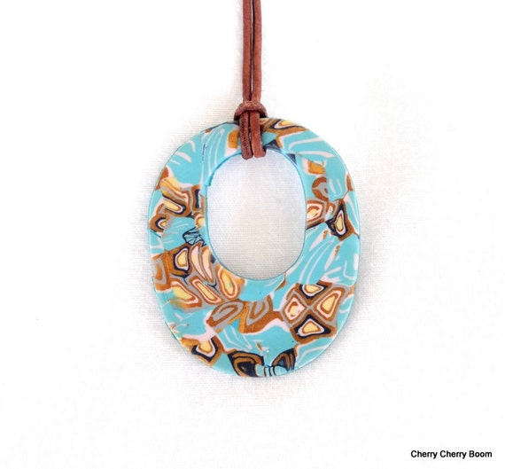 Polymer pendant, pendant, pendant necklace, jewelry, boho pendant, polymer clay, turquoise, blue, summer, beach, gift for her, one of a kind
