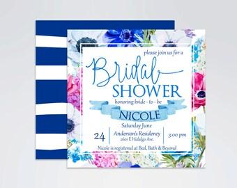 Something Blue, Blue Floral Print Bridal Shower Invitation, Elegant Floral Print, Spring Summer Invitation Printable 5x5 DIY Digital File