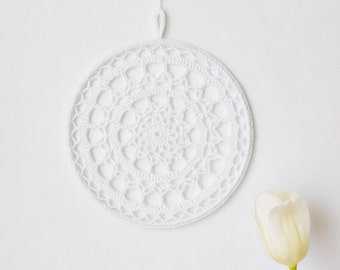 Mandala suncatcher, window decor, crochet doily window art, fiber wall hanging, cottage chic home decor, housewarming gift