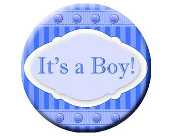 """3"""" It's a Boy Pinback Button, Blue It's a Boy Pinback, Custom Button"""