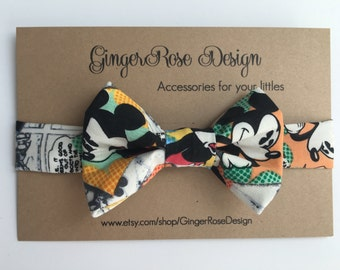Mickey Mouse Bow Tie; Vintage Comic Mickey Mouse Bow Tie; Disney Bow Tie; Baby Bow Tie; Toddler Bow Tie; Boy Bow Tie; Adjustable Bow Tie