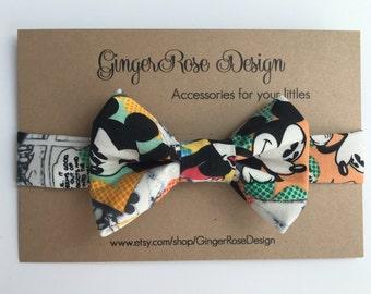 Mickey Mouse Bow Tie; Vintage Comic Mickey Mouse Bow Tie; Disney Bow Tie; Baby Bow Tie; Toddler Bow Tie; Boy Bow Tie; Adjustable Bow Tie