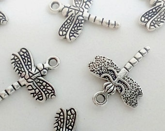 7x silver dragonfly damselfly pendant 1,2cm charm findings supplies animal insect