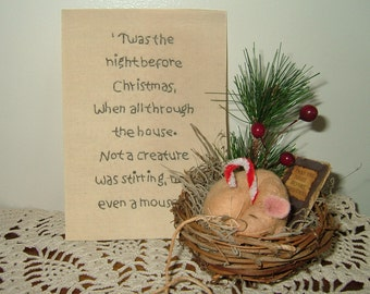 Primitive Mouse In Nest~Twas' The Night Before Christmas