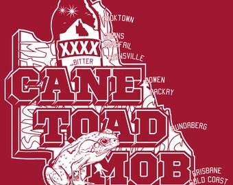Ladies - Cane Toad Mob Maroon Tee