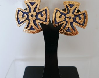 Yves Saint Laurent earrings vintage cross of Malta