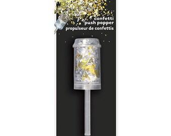 Silver and Gold Confetti Push Popper / Metallic Confetti Popper / Confetti Party Pop / Silver and Gold Confetti Popper