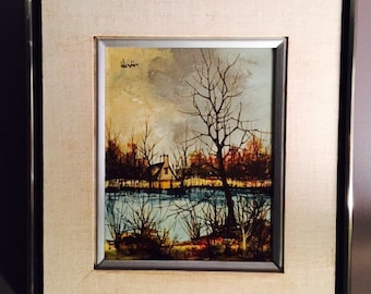 Mid Century Landscape Oil Painting By Werdier / Modernist Impressionist Oil Painting / Vintage Oil Painting/Mid Century Original Art